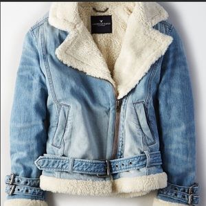 AEO Fur Lined Jean Moto Jacket Size Small